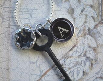 Custom Family Heirloom Skeleton Key, TypewriterKey and Button Charm Necklace-Personalized Gift
