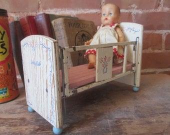 Vintage DOLL CRIB, Antique wood and metal doll crib