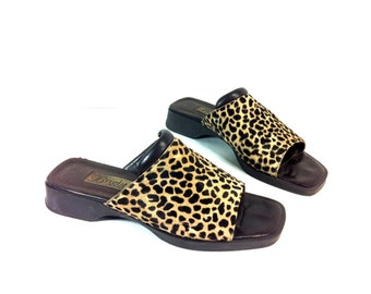 Leopard Print Leather Clogs 7 - BRIGHTON Slip On Sandals 7 - Pony Hair Slides 7 - Leather Clogs 7