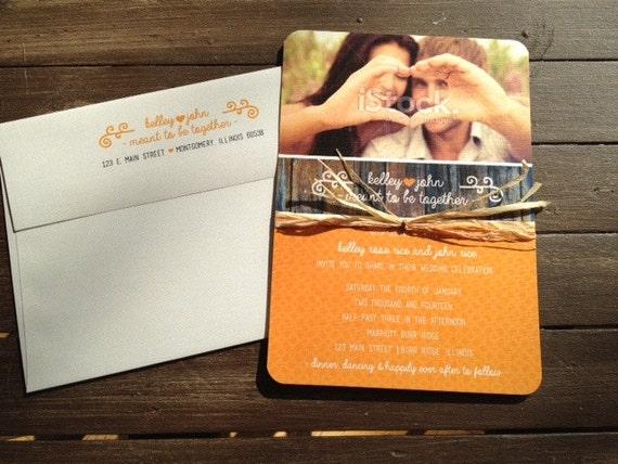 Shabby Citrus Wedding Invitation Rustic Country Shabby