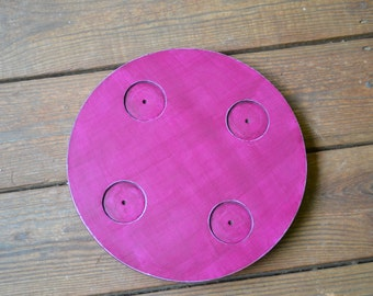 Vintage Lazy Susan Wooden Magenta  Recycle Upcycle Berry Brown Handmade LittlestSister