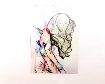 """Limited Edition abstract portrait art artist trading card ACEO illustration art card of  """" Collapsing  Structures by Princess M"""
