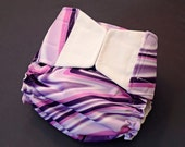 Purple White Swirl AI2 Cloth Diaper Cover One Size Fits 10-35+ lbs - READY TO SHIP