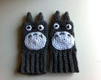 Totoro fingerless gloves Hand crochet