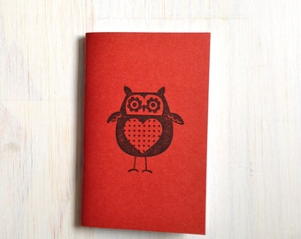 Small Notebook: Owl Notebook, Red, Fall, Jotter, Cute, Kids, Gift, Unique, Journal, Stamped, Thanksgiving, Halloween, Stocking Stuffer, C100