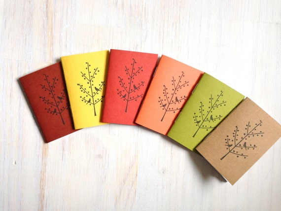 Tiny Journals: Fall, Leaves, Orange, Green, Yellow, Red, Small Journals, Small Notebooks, Unique, Gift, Thanksgiving, Autumn, Brown