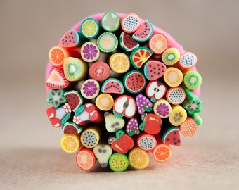 50 Fruit Fimo Canes Polymer Clay Rods for Miniature Foods Nails Beads Decoden Strawberries Kiwi Lemon Lime Cherries Cute Kawaii Manicures