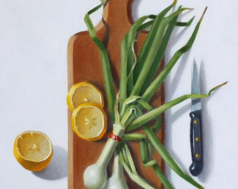 still life oil painting Lemon and Green Onions, oil on canvas