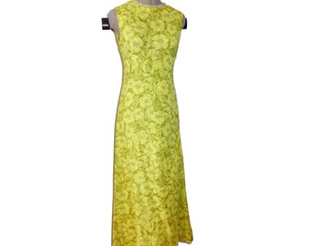 Vintage neon green jewelled collar full length dress - shift, a-line, romantic, silver / peridot trim M S