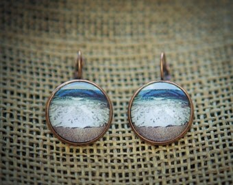 Ocean, North Shore, Oahu, Hawaii - Photo Earrings
