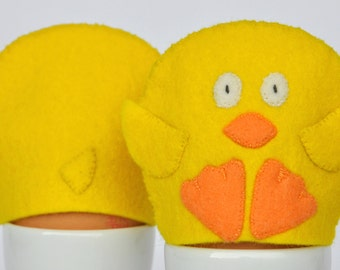 Egg Cosy Wool Felt Chick Pair yellow