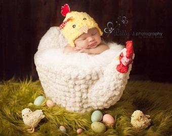 Chicken Hat baby, Easter photo props baby, newborn baby boy, newborn baby girl -Yellow,Red,orange -Spring prop- yellow chick - Made to Order