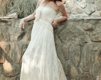 Ivory Lace Bohemian Wedding Dress Long Strappless Bridal Wedding Retro Gown with Cream Lace Details - Handmade by SuzannaM Designs