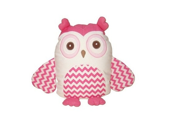 Chevron owl pillow,  stuffed toy, animal doll, cuddly and cutie bird, gift for children and adults, white and pink unique