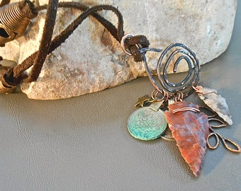 BohemianTribal Necklace Leather Hand Forged Copper Charm Arrow Heads Old Coins Wear Alone or Layer Gift Trending Colors