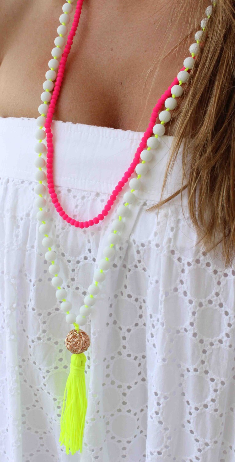neon yellow necklace white beaded necklace tassel necklace. Black Bedroom Furniture Sets. Home Design Ideas