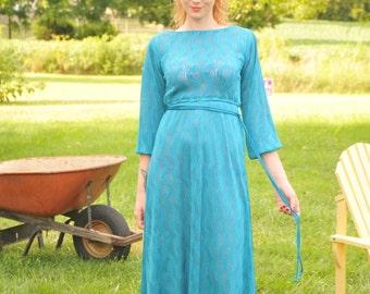 Vintage Hal Ferman Turquoise Athena Dress Gown Size 8