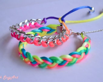 Set of 2 - Silver Chain and Neon Colorful Satin Cord Braided Bracelets - Handmade by PinkSugArt