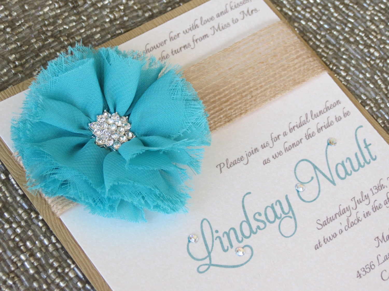 Teal Invitations Wedding: LINDSAY: Turquoise Burlap Wedding Invitation Country Bridal