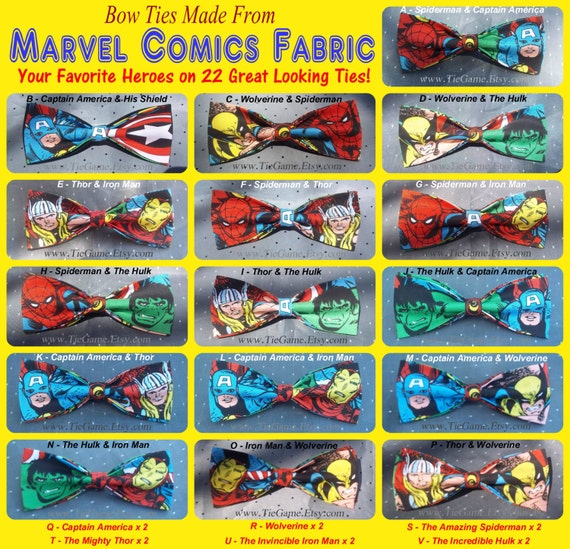 BowTies Made From Marvel Comics Fabric - Take Your Pick From 22 Great Looking SEWN-BY-HAND Hero Bow Ties - 1.99 Shipping