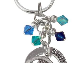Personalized,Swim Keychain,Team Color,Dive Gift,Synchro Keychain,Synchro Coach,Senior Gift,Dive Keychain,Synchro Gift,Swim, (Made to Order)
