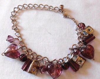 Vintage 70s Charm Bracelet Glass Hearts and  Locks