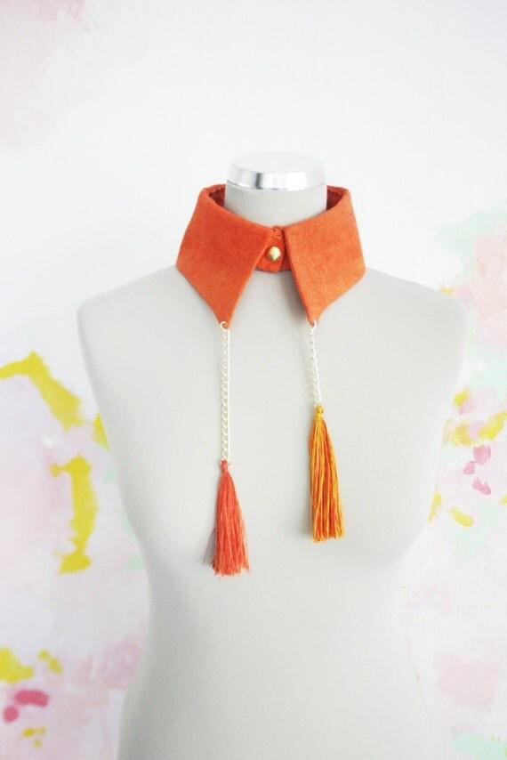 M M A M B O /  Orange linen collar - Ready to Ship - Christmas Sale
