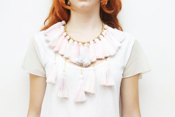 Reserved for Marina MARSHMELOW/ Pastel tassel necklace-Ready to Ship