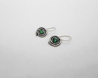Emerald and Silver Metal Clay Earrings, PMC, Fine Silver, Green and Silver, Emerald Cubic Zirconia, Made to Order