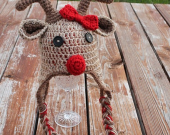 Girl Red Nosed Reindeer hat with Red Bow- Made to Order- Any Size