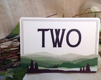 Flat 2-sided Table Number or Name Cards // Appalachian Vermont Rolling Hills (Green): Get Started Deposit