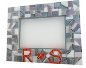 Picture Frame with Heart and Initials // Personalized Mosaic Frame // Engagement // Wedding // Anniversary