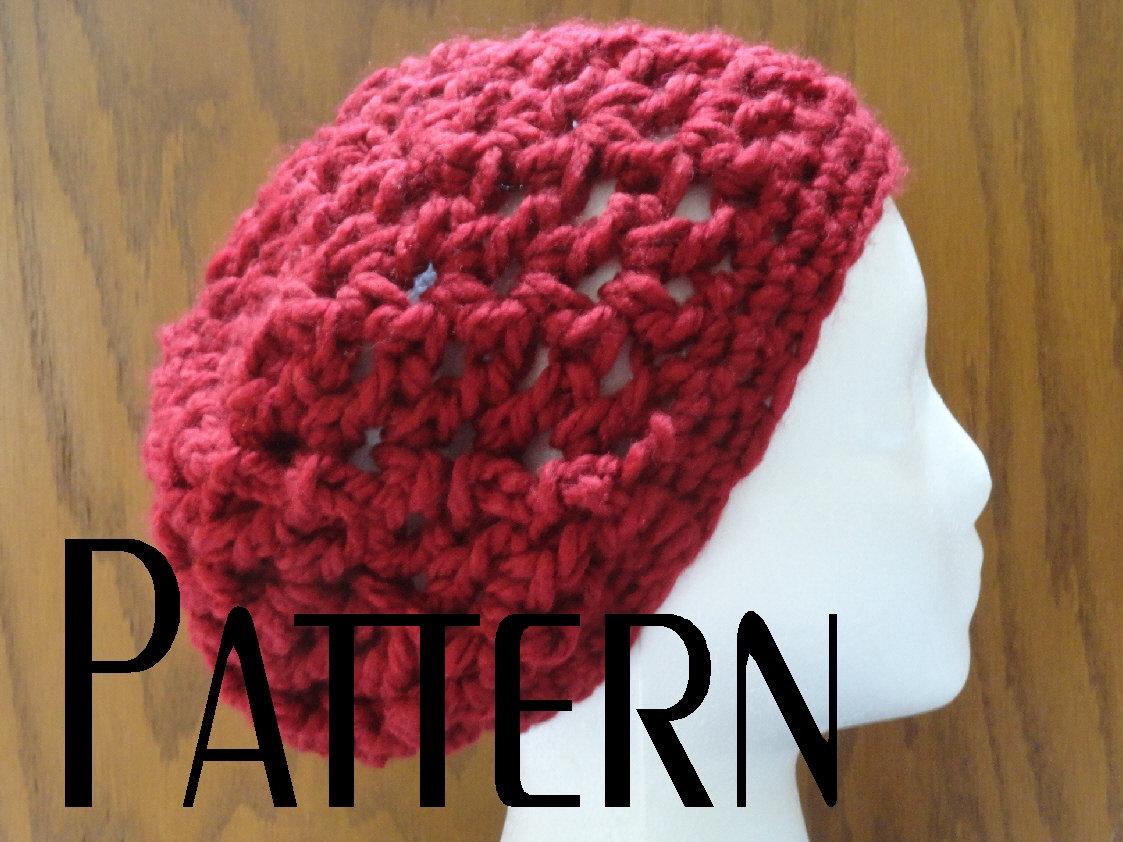 Crochet PATTERN Chunky V Stitch Slouchy Beanie Hat Pattern