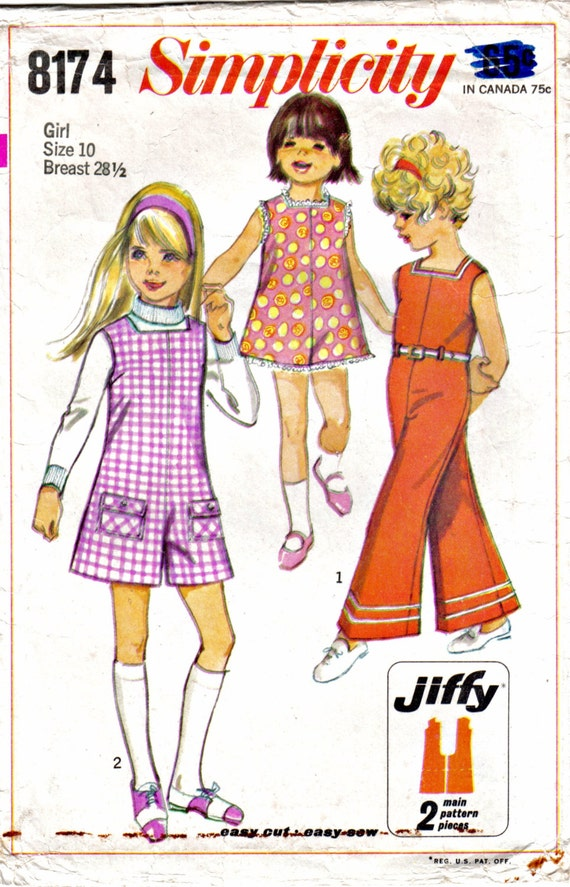 Girl's Children's Jiffy Romper Pantjumper Jumpsuit in Two Lengths Simplicity 8174 Size 10