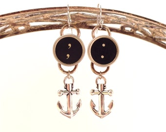 Anchor Earrings Typewriter Key Jewelry Sailor Steampunk Retro Vintage Pinup Tattoo