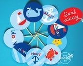 INSTANT DOWNLOAD nautical party, nautical baby shower, sailboat baby shower, nautical birthday, nautical printables, party printables, 1st