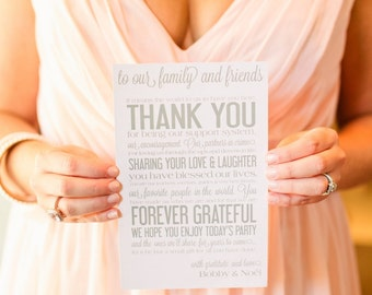 Wedding Weekend Thank You from the Bride and Groom - Reception Rehearsal Wedding Couple Table Card - Custom Quantities