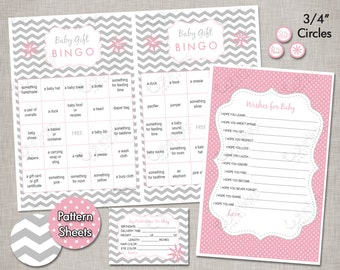 Baby Shower Games - Pink & Silver - INSTANT DOWNLOAD