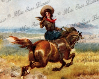Instant Download or Print - Cowgirl on Prancing Horse (C11)
