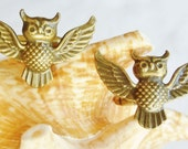 Owl cufflinks, bronze owl cufflinks