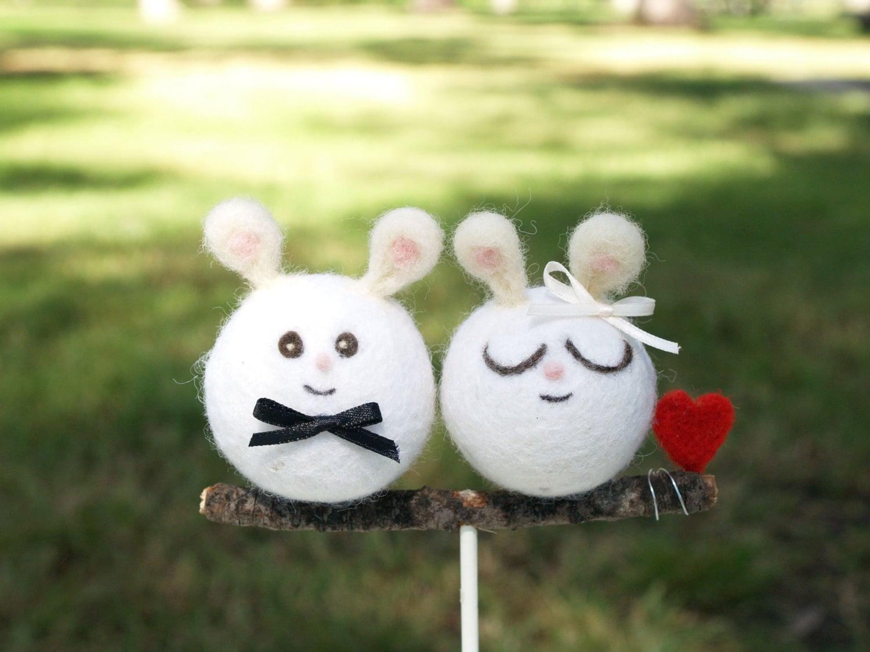 Bunny Wedding Cake Topper Needle Felted Wedding Cake Topper
