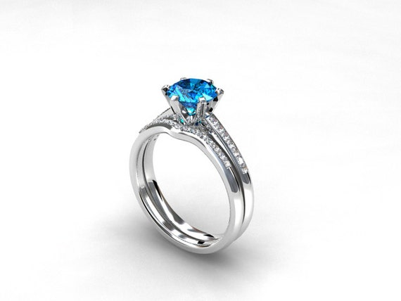 Engagement ring set swiss blue topaz diamond band wedding for Blue topaz wedding ring sets