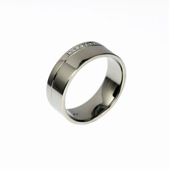 Men's Palladium Ring Diamond Wedding Men Palladium