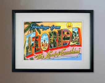 """Greetings from Florida The Land of Sunshine Vintage Postcard Poster - 13""""x19"""""""
