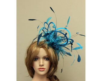 Turquoise and Teal Blue Satin  Feather Fascinator Hat - wedding, ladies day - choose any colour feathers & satin