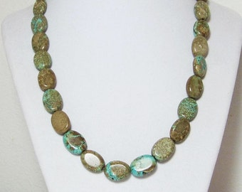 Long Turquoise Necklace Brown and Mint Blue Green Beaded Single Strand Statement