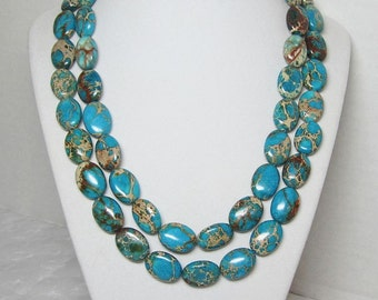 Turquoise Blue Double Strand Statement Necklace Multicolored Beads
