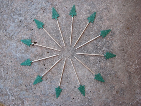 12 Party Picks Cupcake Toppers Green Glitter Evergreen Tree, Appetizer Pick, Holliday Party, Christmas Party Picks, Glitter Party Picks