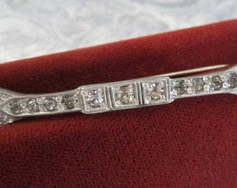 Antique Edwardian Bar Pin with Clear Rhinestones