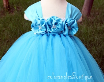 Flower Girl DressTurquoise  tutu dress baby dress toddler birthday dress wedding dress 1T 2T 3T 4T 5T 6T- 9T
